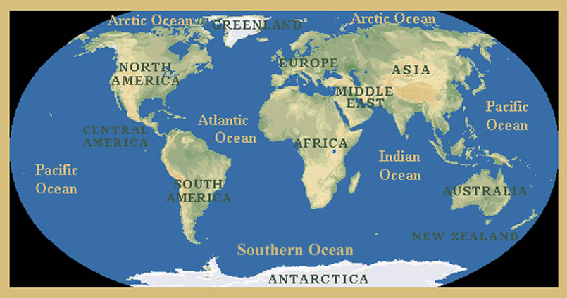 Continents & Oceans Lesson - Elementary Social Studies - My ... OCEANS MAP