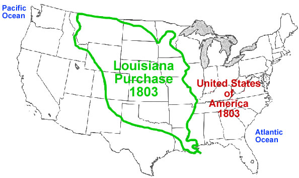 Look at the map of the Louisiana Purchase below. Louisianna Purchase